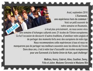 euroweek carte postale 2016 texte